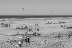 WESTWARD HO, DEVON, UK - JULY 19 2020: English summer beach with family activities.