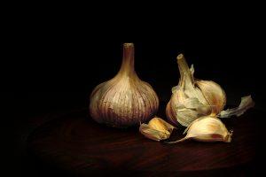 Chiaroscuro garlic on wooden plate. Still life, light painting.